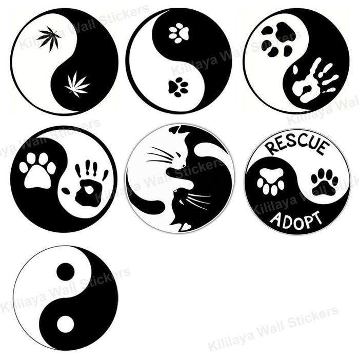 Creative Pet Love Cat Dog Paw Prints Wall Sticker The Seven Trigrams