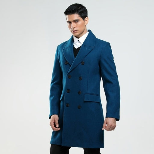 Custom made men's British fashion S-6XL wool coat Russian man double breasted lake blue trench  Cloth