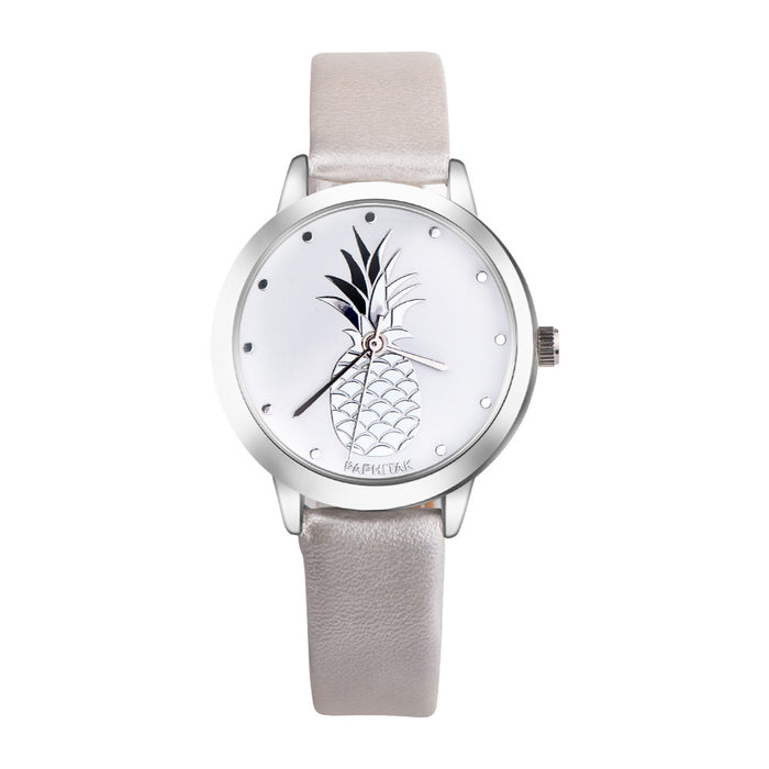 Cute Funny Pineapple Faux Leather Analog Quartz Womens's Watch fashion casual female wristwatch elegant Ladies dress watches