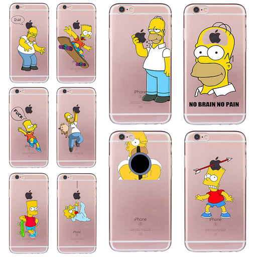 Cute Homer Case for iphone 6 6s 5 5s SE 7 plus Cartoon Cover Simpson Cheap Fundas Ultra-thin Soft TPU Silicone Transparent Coque