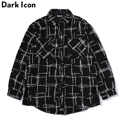 DARK ICON Side Split Turn-down Collar Plaid Jacket Men 2018 Fall Season Thick Style High Street Men's Jackets Streetwear Clothes
