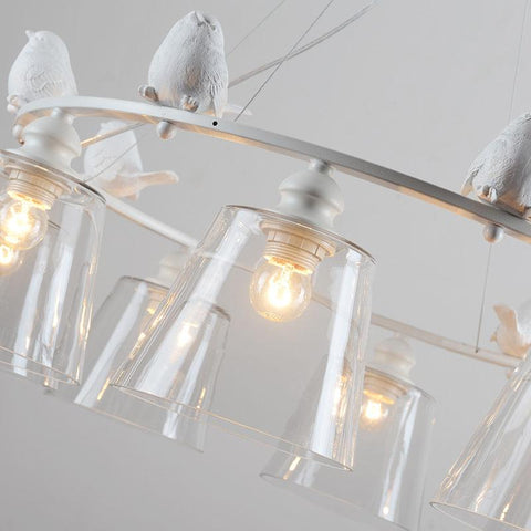 [DBF]Industrial Vintage Modern Home Decoration 3/6/8 Head Resin Bird LED Light Dining Room Pendant Light Glass Iron Bar Light