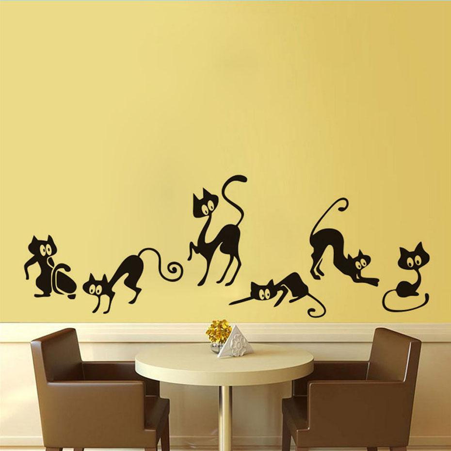 DCTOP 6pcs Group Of Funny Cats Wall Sticker For Kid Room Bedroom ...