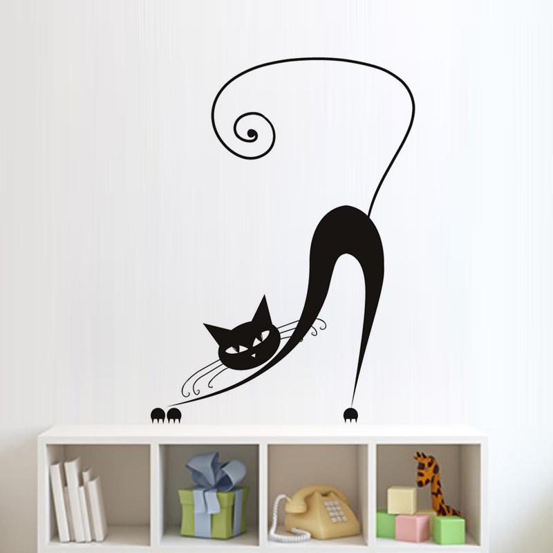 DCTOP Bending Yawn Siamese Cat Wall Stickers Baby Bedroom Wall Decor Art  Vinyl Removable Animal Wall Decal