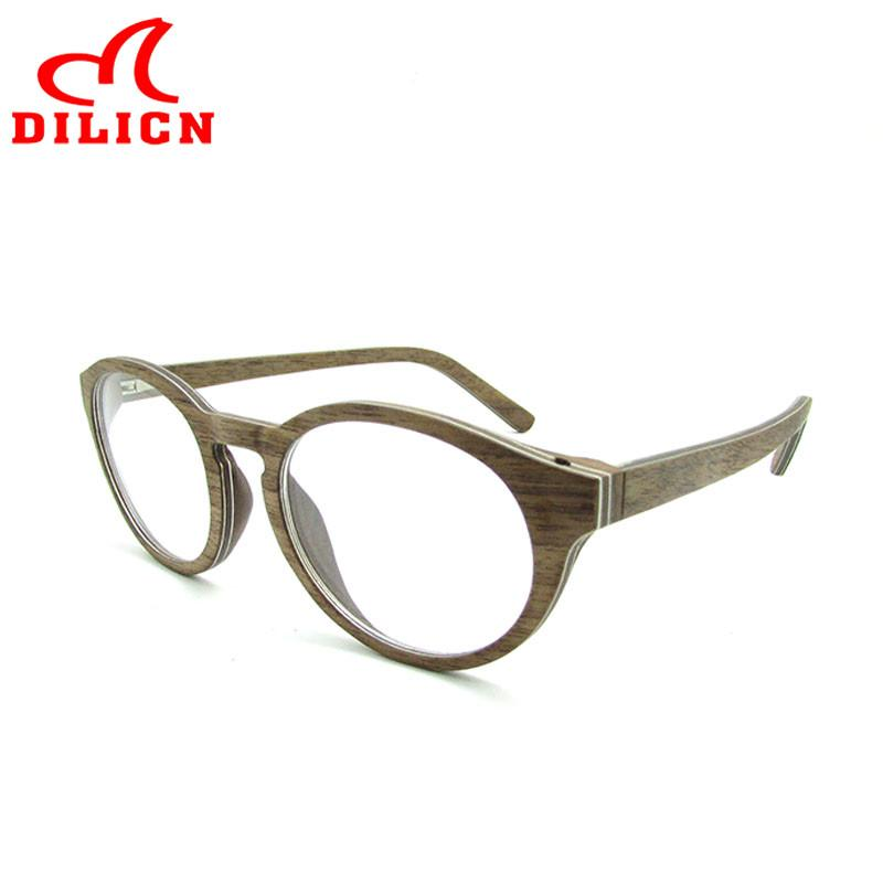 DILICN Aluminum Wood Optical Glasses Frame for Women Men Fashion ...