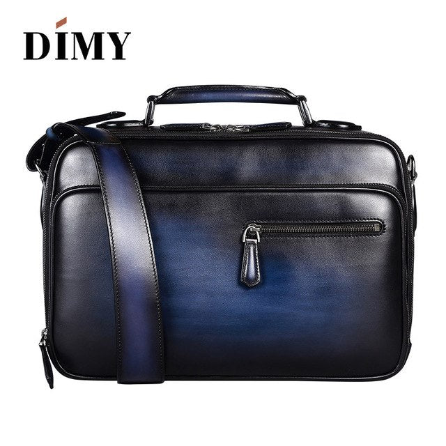 DIMY Italian Cow Leather Messenger Bags Men Document Shoulder Bag Business Youth Briefcase Large-capacity Portable Laptop Bag