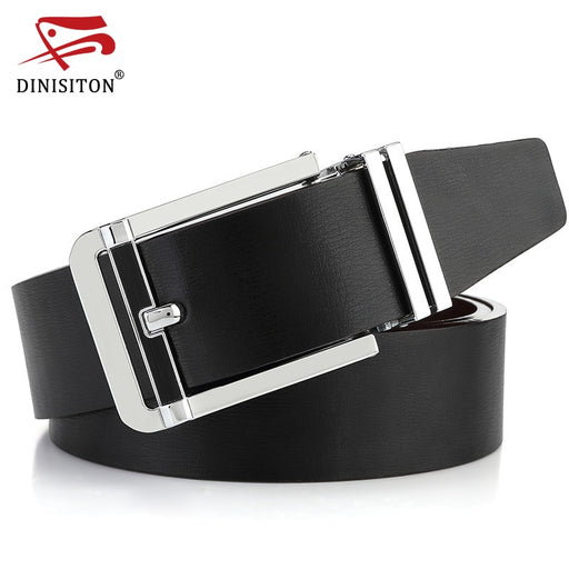 DINISITON Belts For Men Genuine Leather Strap High Quality Casual Cowhide Belt  Fahsion Double Color Used Black Coffee LU205