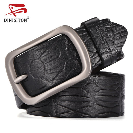 DINISITON Cowskin Belts For Male Crocodile Pattern Luxury Designer Belts For Men High Quality Genuine Leather Strap ERG