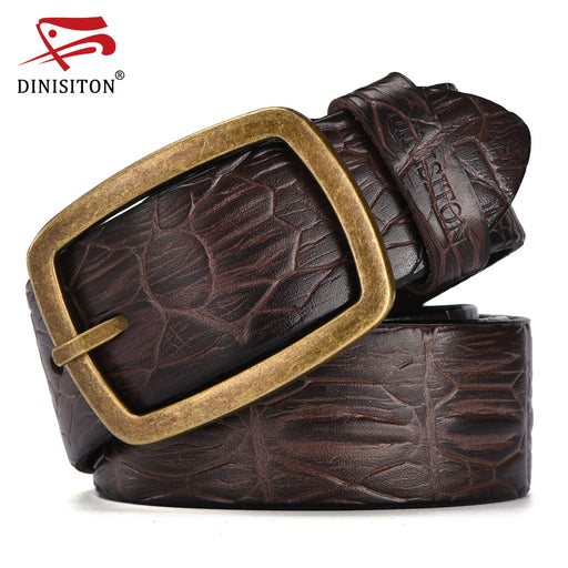 DINISITON Fashion Designer Strap men's Genuine Leather Belts For men Crocodile print belt male High quality Alloy buckle ERF