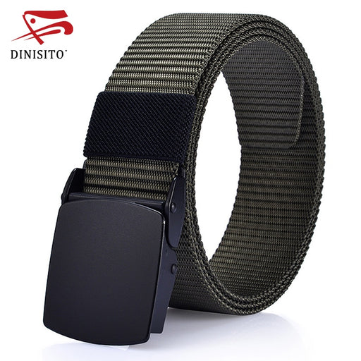 DINISITON Fashion Solid Canvas Belts For Men Designer Strap Automatic Resin Buckle Army Military Tactics Belt High Quality CM26