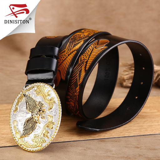 DINISITON Fashion Waist Eagle Strap Punk Style Waistband Mens Luxury High Quality Golden Belt Cowboy Genuine Leather Belt ZPB08