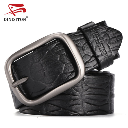 DINISITON Hot Sale Men Belts Luxury Genuine Leather Strap Crocodile Designer Belt Alloy Buckle Cowskin Wide Girdle For Jean ERG