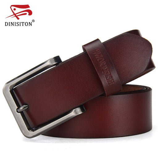 DINISITON Newest designer belts men high quality cow genuine leather belt vintage pin buckle ceinture mens belts freeshipping