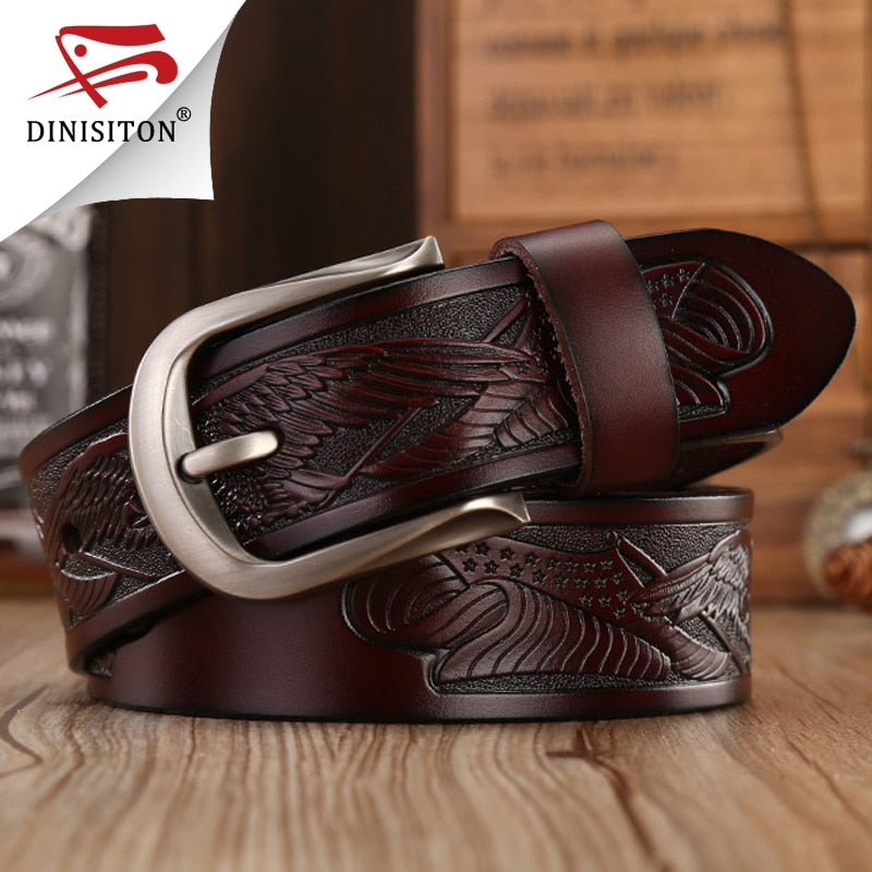 DINISITON Punk Handcrafted Eagle Shells Belt Top Layer Leather Belts For Men Pin Buckle High Quality Cowhide Luxury Strap ZPB03