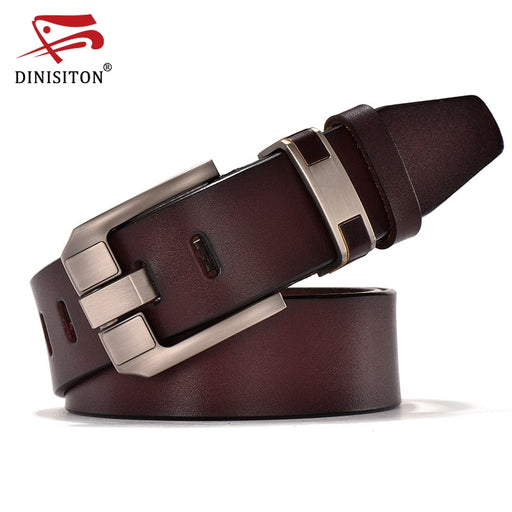 DINISITON Vintage Belts Genuine Leather For Men Good Quality Cowhide Male Pin Buckle Big Size Strap Waistband For Men JY006