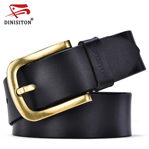 DINISITON fashion new male belt for mens high grade cow genuine leather belts 2017 hot sale strap ceinture homme gold pin buckle