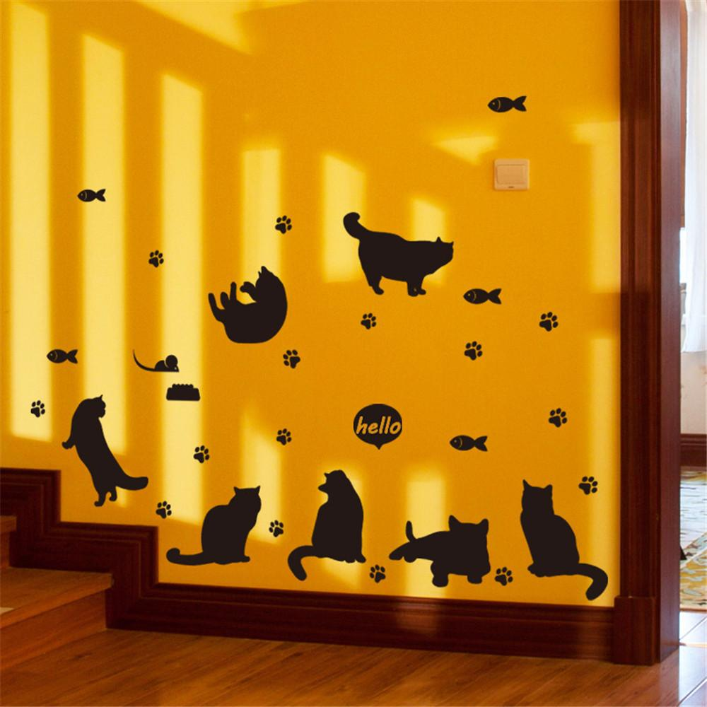 DIY Black Cats Avatar Animal Wall Decal Family TV Background Mural ...