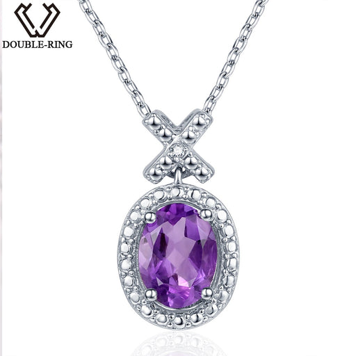 DOUBLE-R 1.2ct Amethyst Natural Stone Pendant For Women Silver 925 Oval Real Diamond Pendant Necklace Genuine Diamond Jewelry