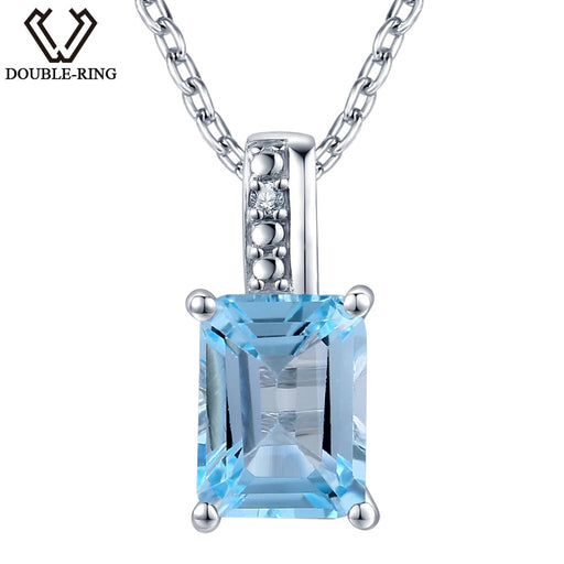 DOUBLE-R 1.85 ct Natural Stone Blue Topaz Pendant Women 925 Sterling Silver with Chain 0.01 ct Real Diamond Jewelry Wedding Gift