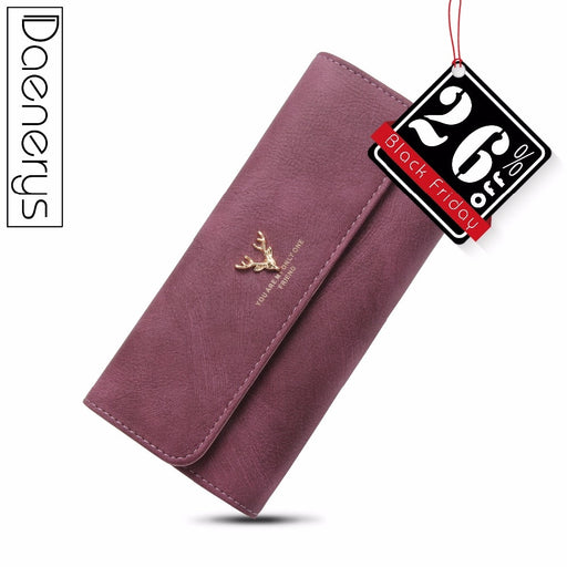 Daenerys Womens Wallets And Purses Long Leather Hasp Ladies Wallet With Animals Deer Credit Card Holder Zipper Clutch For Girls