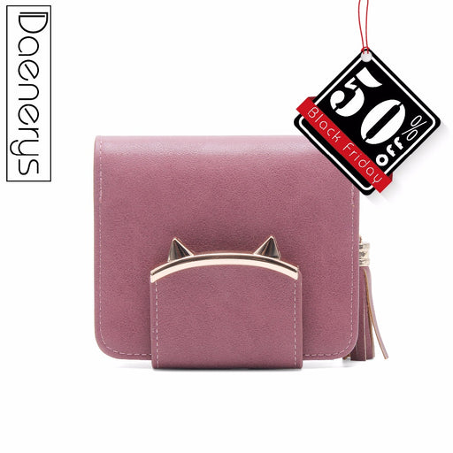 Daenerys Womens Wallets Purses With Clutch And Zipper Short Female Tassel Leather Ladies Multi-Card Holder Cute Cat For Girls