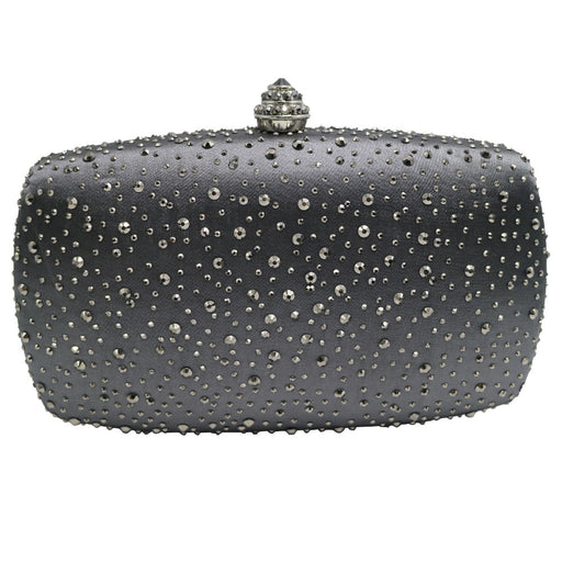Dark Gray Rhinestones Crystal Clutch Evening Bags for Womens Party Cocktail Evening Prom