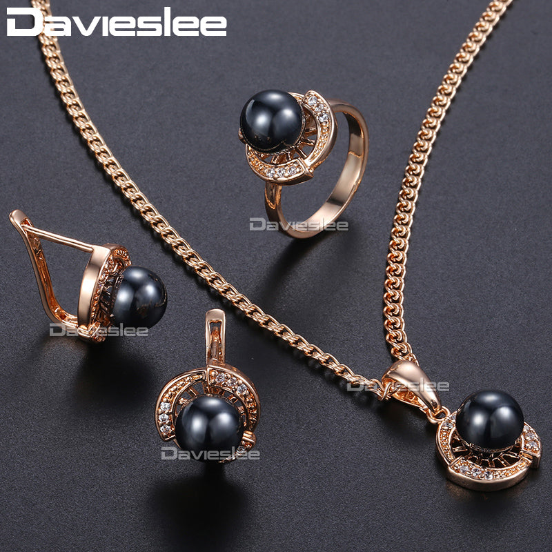 Davieslee Jewelry Sets For Women Rose Gold Color Black Simulated Pearl Women's Earrings Rings Pendant DGE120