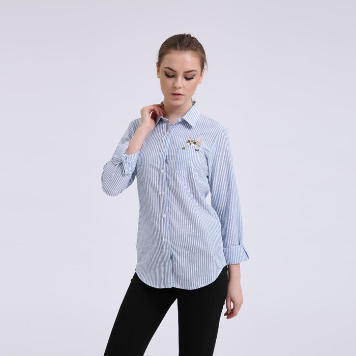 804f25867a585e Dioufond Women Striped Long-Sleeve Shirt Turn-Down Collar Ladies Cotton Blouses  Female Office