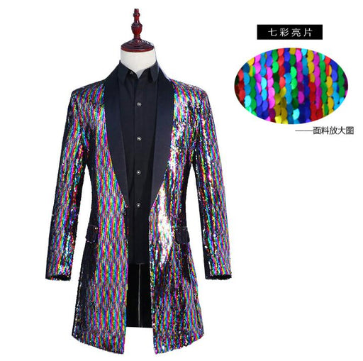 Discoloration Flip Colorful Sequin clothes men suits stage singers jacket men blazer dance fashion dress man long trench coats