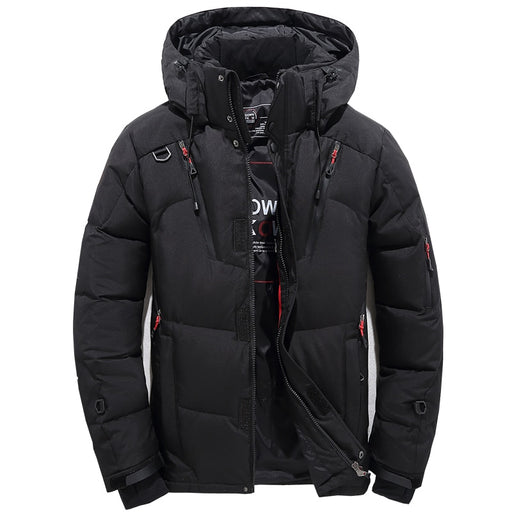 Drop Shipping Men Winter White Duck Down Jackets Thicken Warm Hooded Parkas Homme Zipper Outwear Overcoat  AXP235