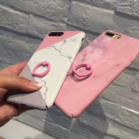 EVANKALX Ring Holder Marble Phone Case For iPhone 7 6s 6 8 X Scrub Antidrop Hard Coque Funda Cover Case For iPhone 6 6s 7 8 Plus