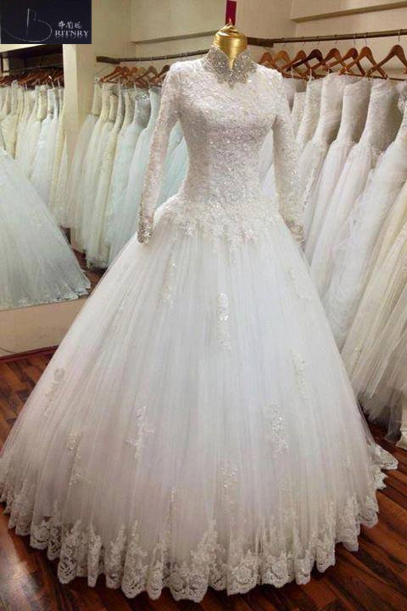 Elegant High Neck Long Sleeve Lace Muslim Wedding Dress Tulle A Line ...