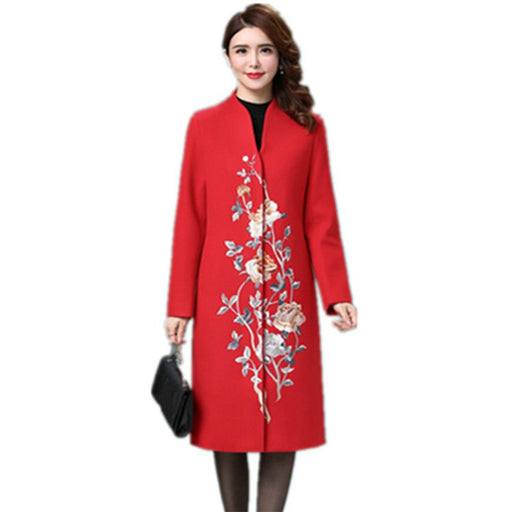 Elegant Long Women Wool Coat Slim Vintage Floral Embroidery Jacket Pockets V-neck Cashmere Coat Plus Size 4XL