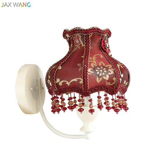 European Retro Red Wall Lamp Fabric Wall Lights for Children Room Bedroom Bedside Lamp Home Lighting Fixtures Wedding Decoration