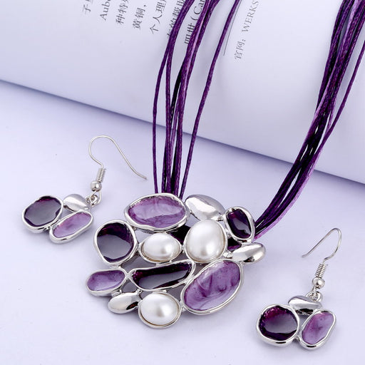 European and American Style Jewelry Sets PU Leather Imitation Pearl Jewelry Necklace Women Earrings Jewelry Sets Christmas Gifts