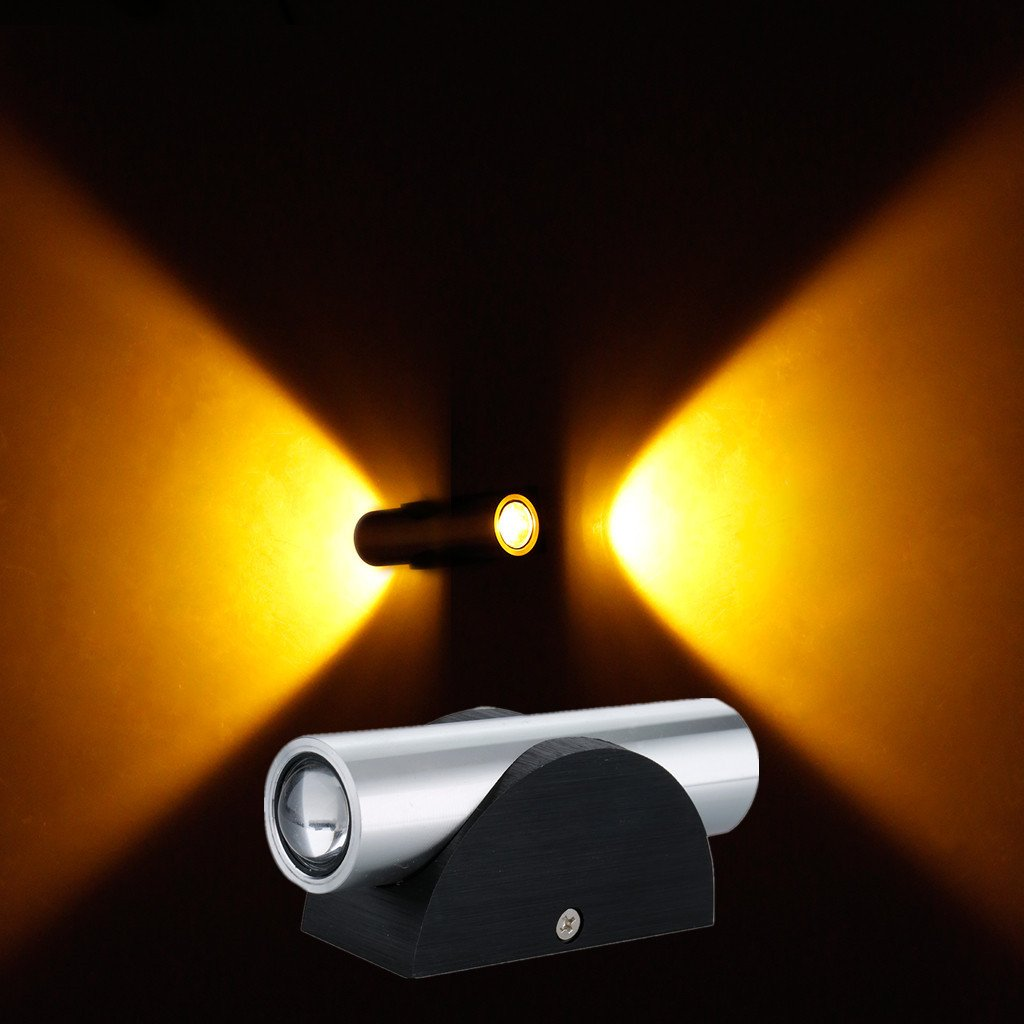 Excelvan 2W Yellow LED Wall Light For Wall Decor Up and Down Wall ...