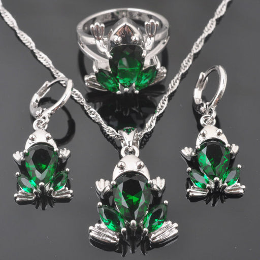 FAHOYO Green Zircon Frog Design Women's 925 Sterling Silver Jewelry Sets Earrings/Pendant/Necklace/Rings Free Shipping QZ0319