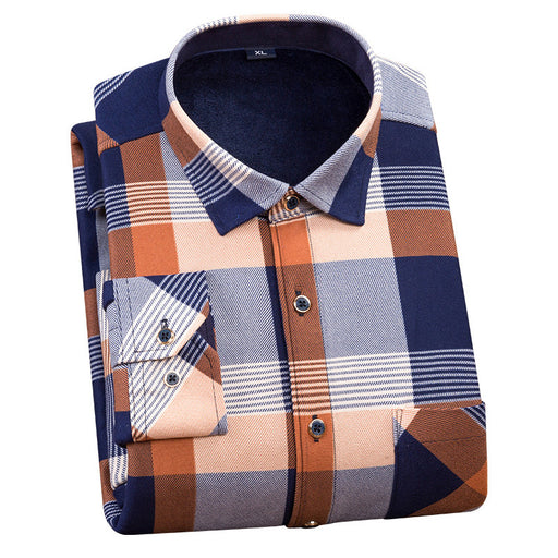 FANFANGXIN/2018 men plus size 4XL winter super warm men plaid shirts wholesale men dress shirts long sleeve casual shirt camisa