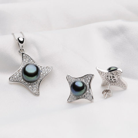 FEIGE Star Pearl Jewelry Sets Black Natural Pearl Pendant Necklace Earrings Stud 925 Sterling Silver Free Necklace Pearls Set
