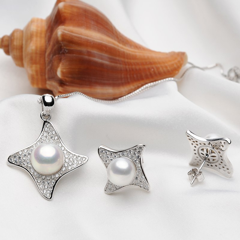 FEIGE Star-shaped Pearl Jewelry Sets White Freshwater Pearl Pendant Necklace And Earrings Sets 925 Sterling Silver Fine Jewelry