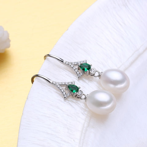 FENASY 925 Sterling Silver jewelry sets for women,Emerald drop earrings,natural pearl pendants&necklaces engagement ring set