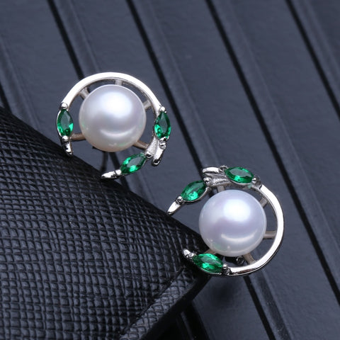 FENASY 925 Sterling Silver natural pearl jewelry sets for women,Emerald stud earrings,pendant necklace engagement ring set