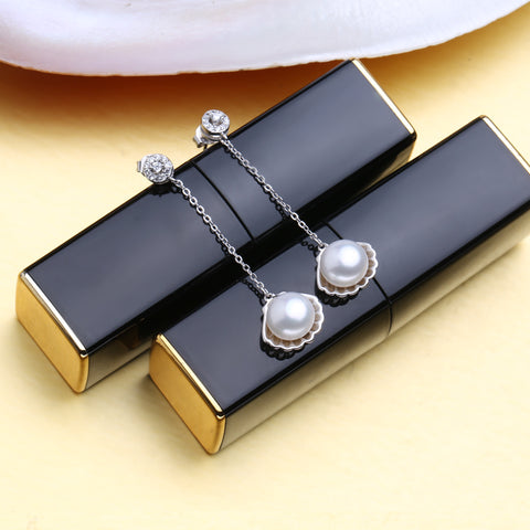 FENASY 925 Sterling Silver pearl jewelry sets for women natural pearl long earrings vintage pendant necklace engagement ring set