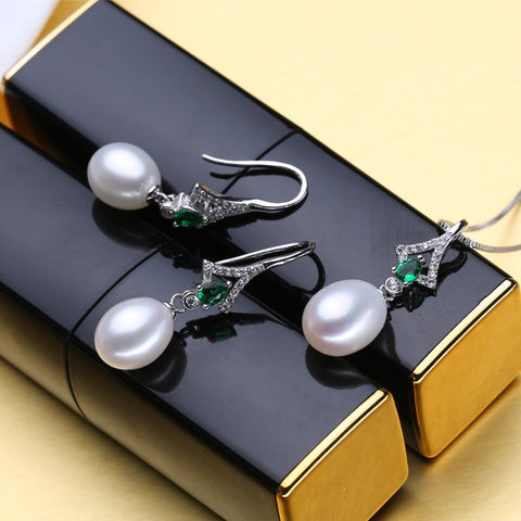 FENASY Pearl Jewelry Sets,Pearl Pendant Necklace Earrings For Women ,fine engagement ring Leaves Emerald leaf big earrings set