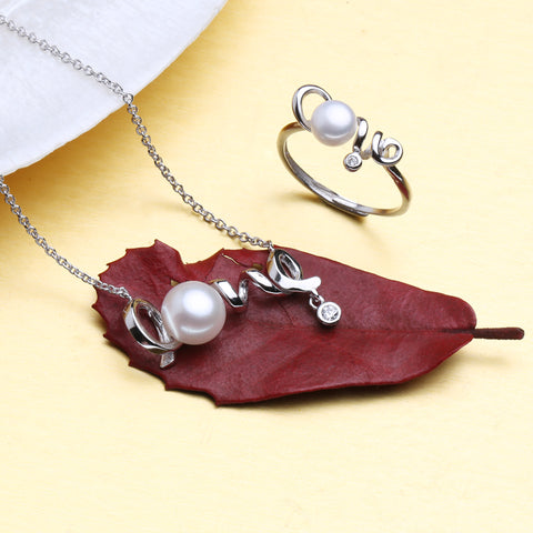 FENASY natural Pearl Jewelry,bridal jewelry sets,heart love pendant and cute ring,sterling silver fine jewelry,engagement ring
