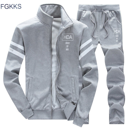 FGKKS New Tracksuits Men Set Thicken Fleece Hoodies + Pants Suit Spring Sweatshirt Sportswear Set Male Hoodie Sporting Suits