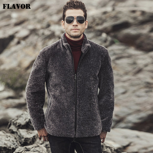 FLAVOR 2017 New Winter men's Real fur coat Wool jacket shearling Genuine leather jacket