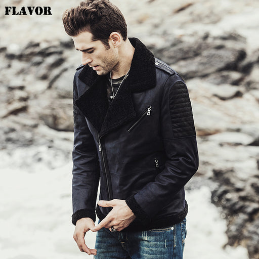 3df121919ca FLAVOR 2017 New men s Winter pigskin Genuine Leather Jacket with faux fur shearling  jacket male Real