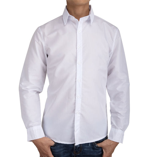 FLORATA Long Sleeve Slim Men Dress Shirt New Arrival Fashion Designer High Quality Solid Male Clothing Fit Busines White Shirts