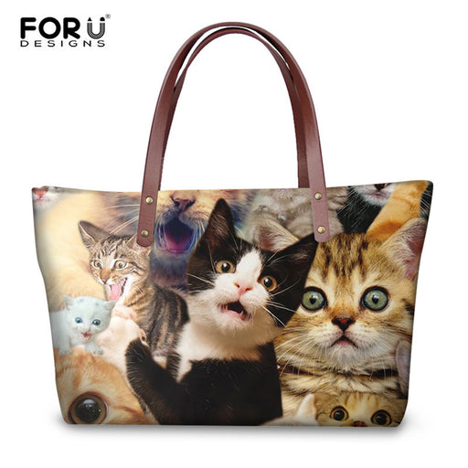 84d6bf134a FORUDESIGNS 3D Selfie Dog Cat Print Handbags Luxury Women High Quality Tote  Bags Fashion Ladies Girls